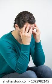 Depressed man. Man nervous breakdown
