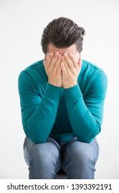 Depressed man. Nervous breakdown plain.