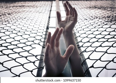 Depressed, trouble, help and chance. Hopeless women raise hand over chain-link fence ask for help