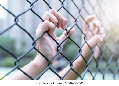Depressed, trouble and solution. Women hand on chain-link fence.