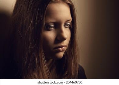 Depressed upset sad teen girl