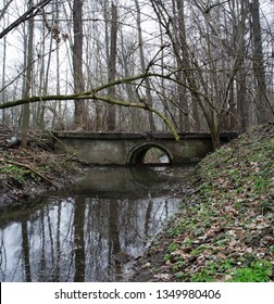 Depressed view of a concrete bridge in the middle of a deep forest