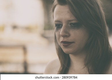 Depressed woman. Sexual violence concept
