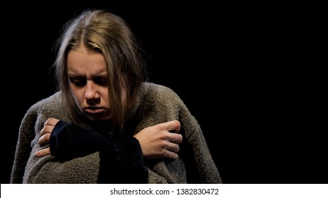 Depressed woman suffering drug withdrawal symptoms, miserable life, addiction