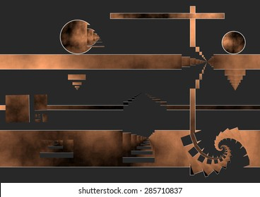 Depression after birth, allegory, look down, vital anguish, deep copper color gradient spiral and dark background, abstract expressionism, abstract digital art