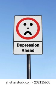 Depression is ahead written on a road sign with a frowning face against a clear blue sky background