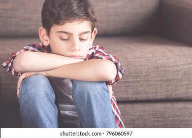 Depression concept with sad kid