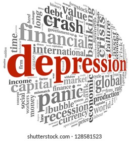Depression and crisis concept in info-text graphics on white background