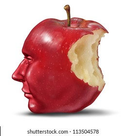Depression and loneliness with human head in the shape of an apple with a bite eaten out of the red fruit as a Lobotomy and health care symbol of despair or loss of brain function losing memories.
