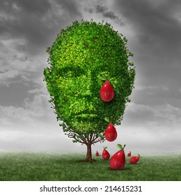 Depression and mental health concept as a tree shaped as a human head that is crying fruit shaped as tear drops as a metaphor for being depressed postpartum or sadness in the mature age.