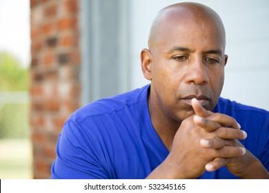 Depression.  Sad African American man.