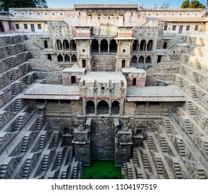 The depth of ancient Chand Baori Step well in the village of Abhaneri, Rajasthan State, India, which was built in the 10th century.