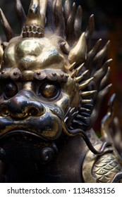 Depth of field close-up view of bronze Chinese lion statue in Beijing, China