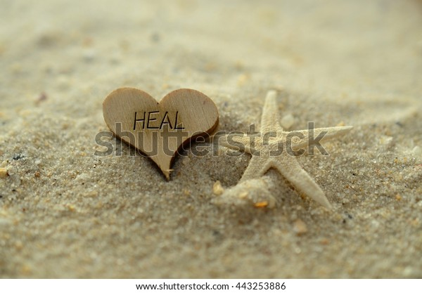 Depth Field Heal Text Carvedengraved Heart Stock Photo
