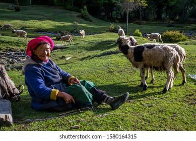 Deqin / China - May 2019: Old lady is resting near Hongpo monastery in Meili Snow Mountain (Kawa Karpo) range in Deqin, Yunnan Province, South China.