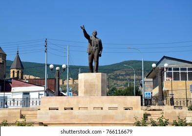 DERBENT, DAGESTAN, RUSSIA - AUG 4, 2017 - Monument to Lenin in Derbent, Dagestan, Russia