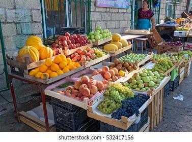 Derbent, Russia - September 08, 2016: Fruits for sale at local street market Republic of Dagestan
