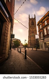 Derby City Center at sunset with cathedral in St peter's Quarter