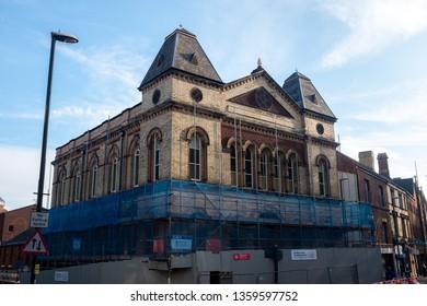 Derby, Derbyshire / UK - April 4 2019: Quicksilver building under redevelopment