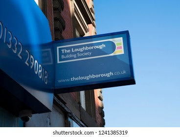 Derby, Derbyshire, UK: October 2018: The Loughborough Building Society sign