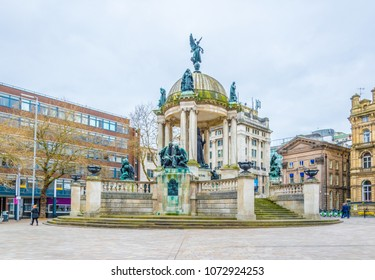 Derby square dominated by Queen Victoria monument in Liverpool, England