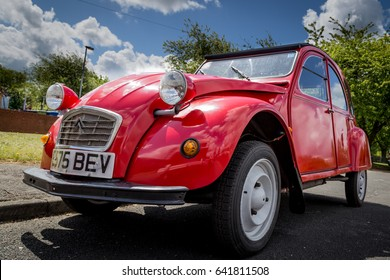 Derbyshire, England- May 14, 2017: Classic car show, Red Citroen 2CV Special.