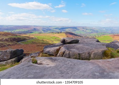 The Derbyshire Peak District from Higger Tor on a hazy spring day.