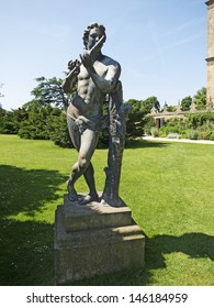 DERBYSHIRE,UK - JULY 7: Statue, Hardwick Hall, Derbyshire, July 7, 2013. The National Trust is meeting with HS2 Rail link officials to discuss its concerns about the visual impact on the estate.
