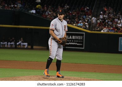 Derek Holland pitcher for the San Francisco Giants at Chase Field in Phoenix,AZ USA July 1,2018.