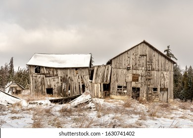 The derelict and abandoned barn on the property of an abandoned house in ontario canada