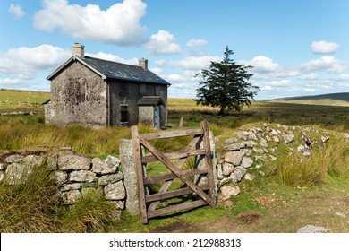 A derelict and abandoned farmhouse at Nun's Cross a remote part of Dartmoor National Park near Princetown in Devon