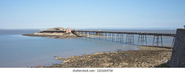 The derelict Birnbeck Pier (18th century), Weston-super-Mare, Somerset, England, UK.