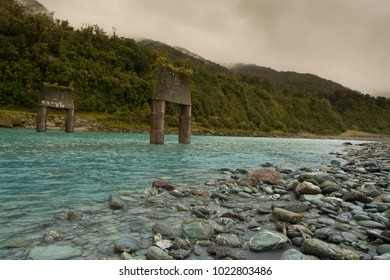 Derelict bridge over the Whataroa River, New Zealand.