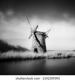 THe derelict Brograve mill on the Norfolk Broads.