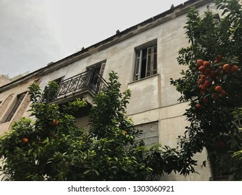 Derelict building and tangerine tree in the street. Athens, Greece.