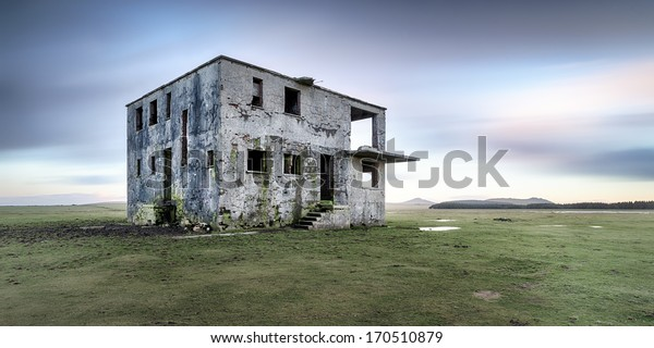 Derelict control tower at an abandoned WWII airfield at Davidstow in Cornwall