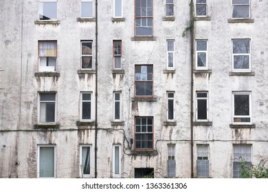 Derelict council house in poor housing crisis ghetto estate slum in Port Glasgow uk