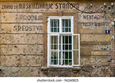 Derelict facade, architectural detail