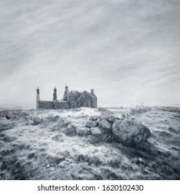 Derelict Farmhouse Ruin in a bleak, misty, frost-covered moorland landscape captured using long exposure, bokeh and other effects with some areas blurred to create a surreal and dreamlike effect.