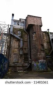 A derelict graffiti covered building in Glasgow, Scotland