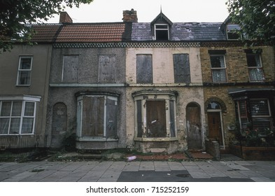 Derelict houses awaiting redevelopment, Merseyside, UK, 1994
