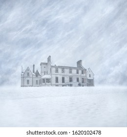 Derelict Mansion House Ruin in a snow-covered landscape against a blizzard filled sky background captured using long exposure, bokeh and other effects with some areas blurred to create a surreal and d