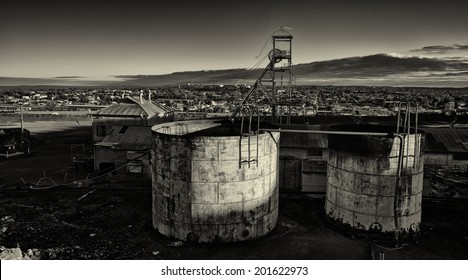 Derelict mine workings above the town of Broken Hill in the Australian outback