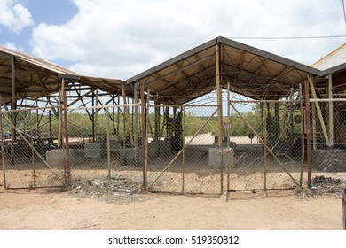 Derelict old open sheds where pearl shells  were sorted and cleaned  a hundred years ago in Broome North Western Australia  stand as a reminder of hectic laborious days of luggers and divers.