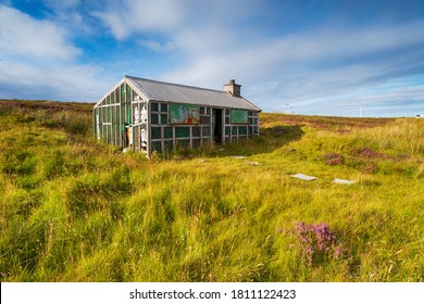 A derelict Shieling hut on Pentland Road moor near Stornoway on the Ilse of Lewis in the Western Isles of Scotland