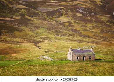 Derelict stone cottage in the Cairngorms, Scottish Highlands, Scotland, UK