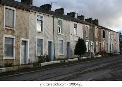 Derelict Terrace Homes, Accrington, Lancashire.