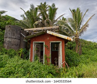 A derelict toilet in the middle of nowhere on the south Pacific tropical island of Niue.