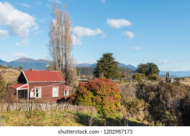 derelict wooden hut in historic goldmine in Waiuta, West Coast, South Island, New Zealand