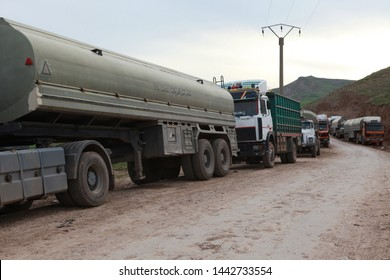 Derik, Syria- In the third year of the Syrian war, trucks waiting across the Semelka border crossing between Iraq and Syria. March 19, 2013.